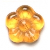 Glass Flower Bead 15mm Light Topaz - Strung